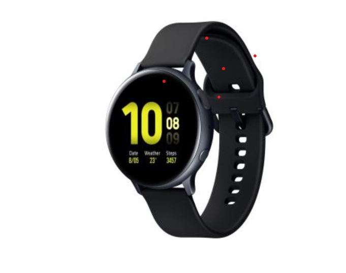 Montre connectée Samsung Galaxy Watch Active2 44 mm Boîtier Aluminium Bracelet en silicone Noir Carbone